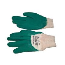 Védőkesztyű LATEX mártott nyitott kézháttal ZÖLD A171